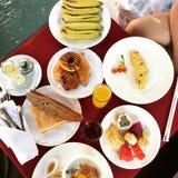 Food Breakfast Arrangment. Coffee Bread Tea Chocolate Royalty Free Stock Photo