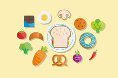 Food and Breakfast Icons Flat Design Vector Illustration Element Icons Set Stock Images