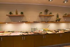 Food buffet. Buffet of food in contemporary interior royalty free stock photography