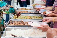 Food Buffet Catering Dining Eating Party Sharing Concept. People group catering buffet food indoor in luxury restaurant with meat colorful fruits and vegetables royalty free stock images