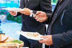 Food during a buffet catering party Royalty Free Stock Images