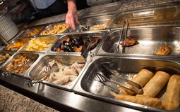 Food in the buffet Chinese restaurant Royalty Free Stock Photo