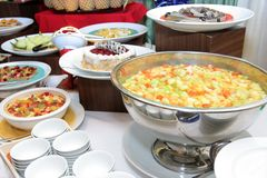 Food in buffet dinner stock photo