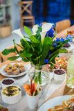 Food buffet with finger-food and salads Royalty Free Stock Image