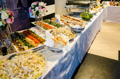 Food buffet with finger-food and salads Royalty Free Stock Photography