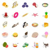 Food business icons set, cartoon style. Food business icons set. Cartoon set of 25 food business vector icons for web isolated on white background Stock Photography