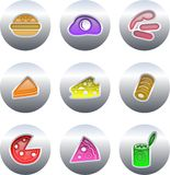 Food buttons. Collection of colourful fast food buttons isolated on white Royalty Free Stock Photo