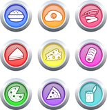 Food buttons. Collection of very colourful fast food buttons isolated on white Royalty Free Stock Photography