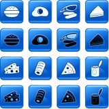 Food buttons. Collection of blue square fast food rollover buttons Stock Photography