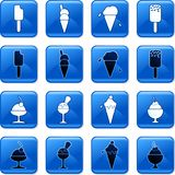 Food buttons. Collection of blue square ice cream rollover buttons Royalty Free Stock Images