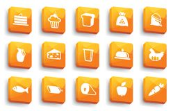 Food buttons, Vector illustration. Buttons of various kinds of food. Vector illustration Royalty Free Stock Images