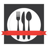 Food Cafe Cutlery Logo Stock Image