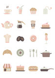 Food & Cafe Icons - colored. Set of 20 pastel colored food and cafe vector icons Stock Illustration