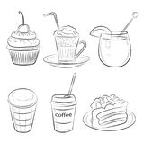 Food cafe set Morning breakfast lunch or dinner kitchen doodle hand drawn sketch rough simple icons Stock Images