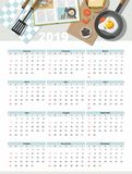 Food calendar 2019. Top view. vector illustration