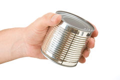 Food can in hand Stock Photography