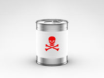 Food can with poison label. On white background Stock Image