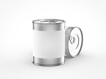 Food can with white label. On white background Stock Images