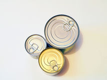 Food cans. Of various sizes and shapes Royalty Free Stock Photo
