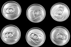 Food cans. A close up on a bunch of six food cans Royalty Free Stock Images