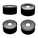 Food cans black symbol Stock Photos