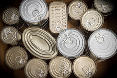 Food cans. Closeup of a group of aluminium cans Royalty Free Stock Photo