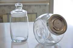 Food cans on kitchen table. Empty containers for food on the kitchen table Royalty Free Stock Photo