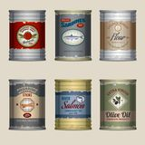 Food cans set Royalty Free Stock Image