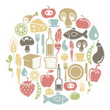 Food card. Round card with food icons Stock Photography