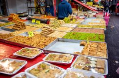 Food in Carmel Market, Tel Aviv, Isreal. Delicious Sweet food royalty free stock photography