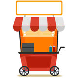 Food Cart with Blank Signage Stock Photo