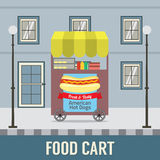 Food Cart In Front Of Vintage Building. Royalty Free Stock Images