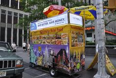 New York, 2nd July: Food Cart in Midtown Manhattan from New York City in United States royalty free stock images