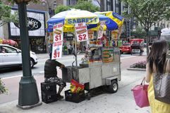 New York, 2nd July: Food Cart in Midtown Manhattan from New York City in United States royalty free stock photography