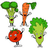 Food Cartoon Characters. A set of healthy food cartoon characters Royalty Free Stock Photos