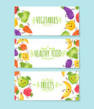 Food cartoon representing banners. Banners set of healthy food cartoon representing some funny vegetables Royalty Free Stock Images