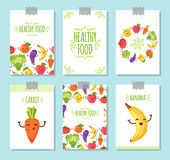 Food cartoon representing banners. Banners set of healty food cartoon representing some funny vegetables Royalty Free Stock Image