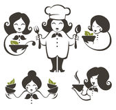 Food and cartoon woman chef silhouettes, vector collection emble Stock Photo