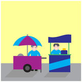 Food carts with seller, food stand business competition. Food carts with seller, food stand business competing- illustration royalty free illustration