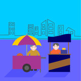 Food carts with seller, food stand business. Illustration of food carts with seller, food stand business vector illustration