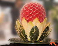 Food Carving. An water melon and pumpkin carved and displayed during the Gulf Food Festival in Dubai. Image with clipping path stock photos