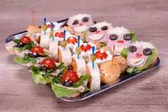 Food Catering bread sandwich meat tomato Royalty Free Stock Images