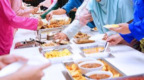 Aidilfitri festival. Food Catering Cuisine Culinary Gourmet Buffet Party Concept royalty free stock photography