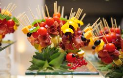 Food catering. Finger food fruit salad Royalty Free Stock Photo
