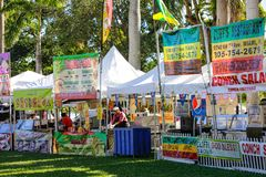 Food catering in the park Downtown Miami Bayfront Park. MIAMI, FL, USA - DECEMBER 31, 2017: Editorial image of food catering setup for the new years celebration Stock Image
