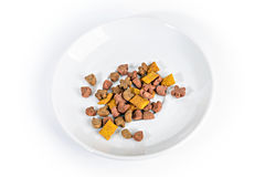 Food for cats and dogs in a dish Royalty Free Stock Image