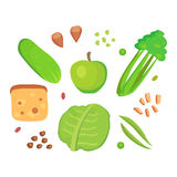 Food cellulose isolated healthy ingredient vegetable diet meal green organic veggies group nutrition health superfood. Vector illustration. Organic eat gourmet Stock Photo