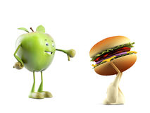 Food character -  apple versus buger Royalty Free Stock Image