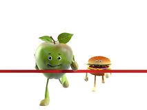 Food character -  apple versus buger Royalty Free Stock Photography