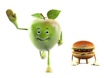 Food character -  apple versus buger Stock Images
